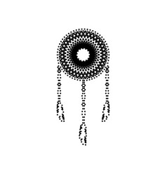 Dream catcher sign black dotted icon on vector