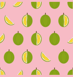 Durian with cut pieces seamless pattern vector