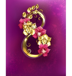 Eight of gold orchids vector