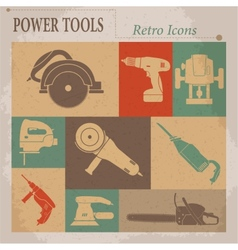 Electric tool flat retro icons vector image vector image