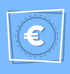 euro sign icon currency web button vector image