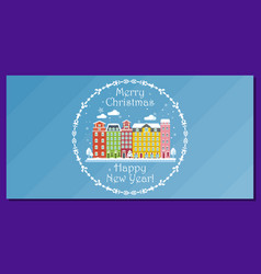 european winter city on horizontal greeting card vector image