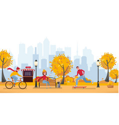 fall season park zone with people large public vector image