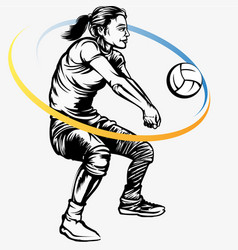 Female volleyball player vector