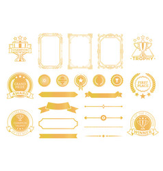 First place certificates and diploma decor set vector