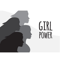 flat banner with women and girl power text vector image