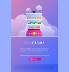 Flat food steamer device landing page vector