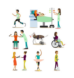 Flat icons set of medical staff and vector