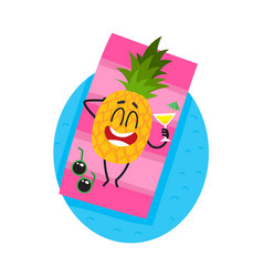 Funny pineapple character enjoying summer vacation vector