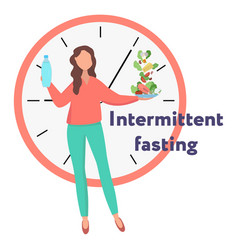 Girl showing concept intermittent fasting vector