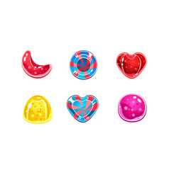 glossy candies set sweets different shapes vector image