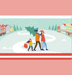 Going outdoor family near colorful building vector
