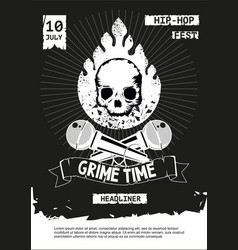 grime hip-hop party rap festival banner vector image