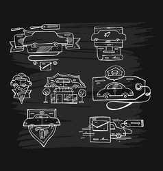 hand drawn set of graphic lined car logo vector image