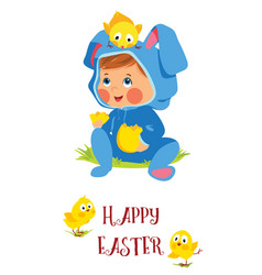 Happy easter card with baby bunny and chicks vector