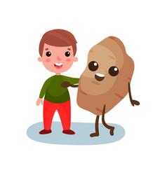 happy little boy hugging giant potato vegetable vector image