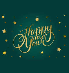 happy new year card design with golden lettering vector image