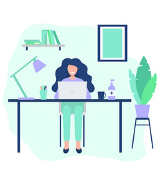 Happy woman working with computer during vector