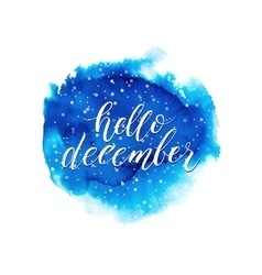 Hello december text on blue watercolor splash vector