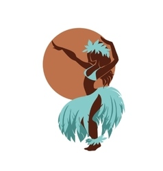 Hula dancer silhouette against the sun disk vector