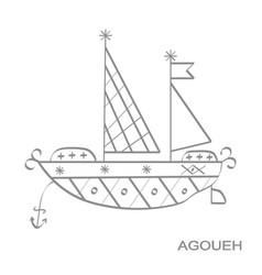 Icon with veve vodoo symbol agoueh vector