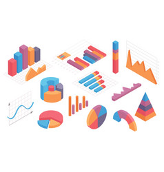 isometric infographic charts graph circle vector image