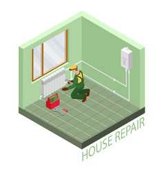 Isometric interior repairs concept thermal system vector