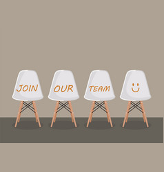 Join our team texts on the chairs vector