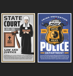 Law enforcement and justice police and court vector