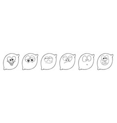 Lemon set of funny smiles collect fruits and food vector