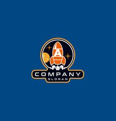 Letter a rocket logo design vector