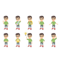 Little caucasian boy set vector