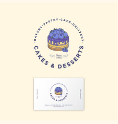 Logo cake desserts business card vector