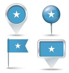 Map pins with flag of Somalia vector