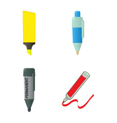 Marker icon set cartoon style vector