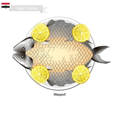 Masqouf or Traditional Iraqi Grilling Carp Fish vector image