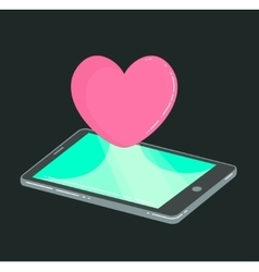 Mobile phone with heart like icon on dark vector image