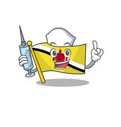 Nurse flag brunei darussalam mascot shaped cartoon vector