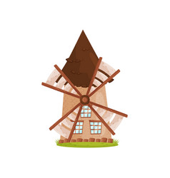 old stone windmill with wooden sails and big vector image