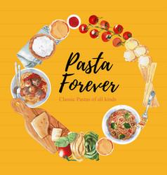 Pasta wreath design with flour fork tomato vector