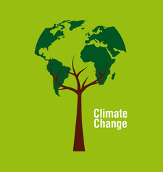 Planet earth shape tree ecology climate change vector