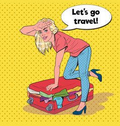pop art woman trying to close overflowed suitcase vector image
