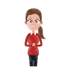 Pretty young business woman icon image vector
