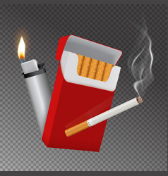 Realistic cigarette pack and lighter composition vector