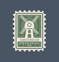 Rectangular postmark with windmill main symbol of vector
