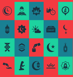 religion icons set with lantern time human and vector image