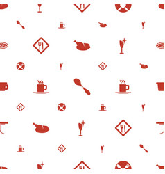 restaurant icons pattern seamless white background vector image
