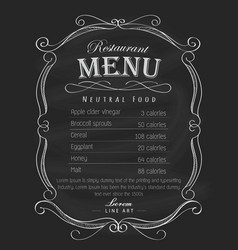 restaurant menu frame blackboard hand drawn vector image