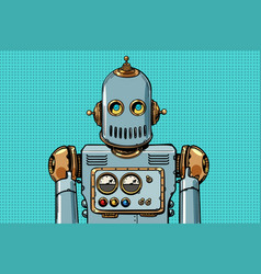 retro robot portrait vector image