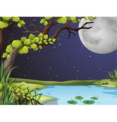 River scene on fullmoon night vector image